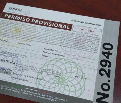 Solicita Gobierno de Colima reducir costo de permiso provisional de circulación