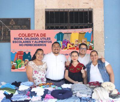 Arranca colecta de ropa, calzado, útiles y alimentos