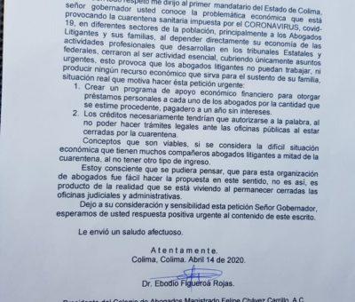 Abogados litigantes solicitan apoyo financiero a Peralta