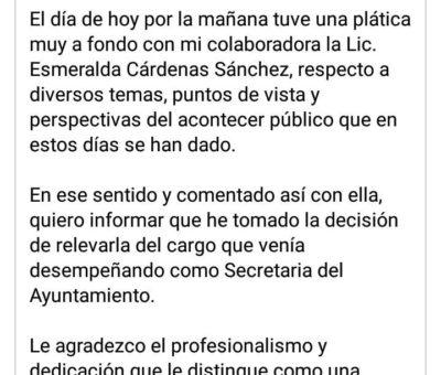Por el mensaje «homofóbico» Locho retira del cargo a Esmeralda Cárdenas