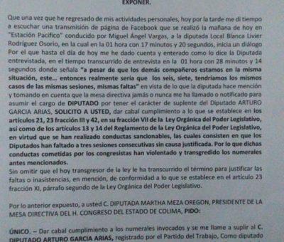 Suplentes de diputados Arturo García y Ana Karen Hernández piden se les tome protesta