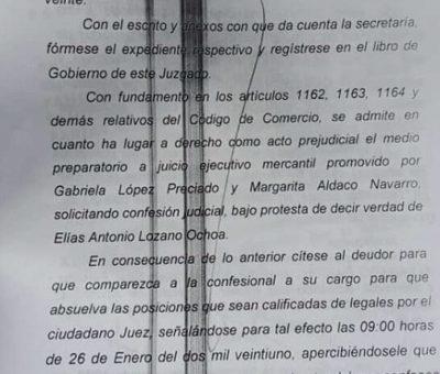 Inmobiliaria inicia proceso legal contra a Elías Lozano por no pagar adeudo; mañana comparece