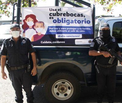 Policía Estatal exhorta a usar cubrebocas