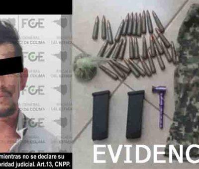 En Coalatilla, detiene FGE a hombre con cartuchos y narcóticos