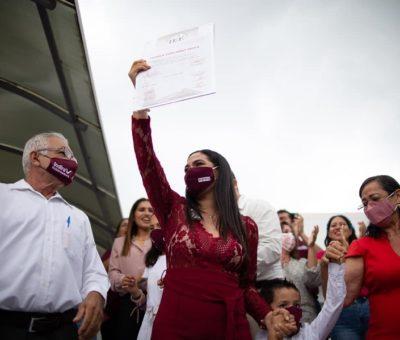 Indira Vizcaíno recibe constancia de mayoría de votos como gobernadora electa