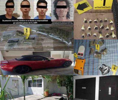 En cateos, cuatro hombres detenidos y droga e inmuebles asegurados