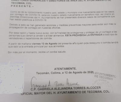 Prohiben acceso a oficinas de presidencia a repartidores y vendedores de alimentos