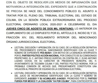 ! Se acaba el suspenso¡: mañana resuelven impugnación contras Elías Lozano
