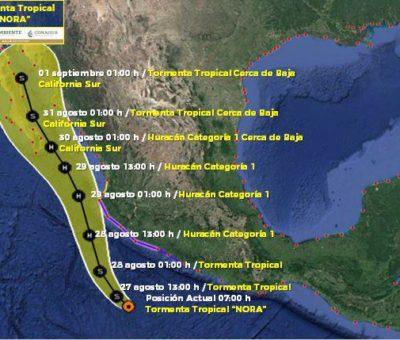TT «NORA» está al sur de Colima, provoca lluvias a torrenciales en el occidente y sur de México